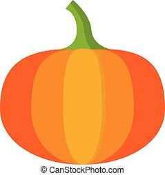 Autumn pumpkin icon, flat style