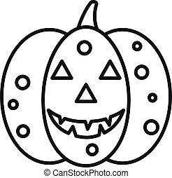 Autumn pumpkin icon, outline style