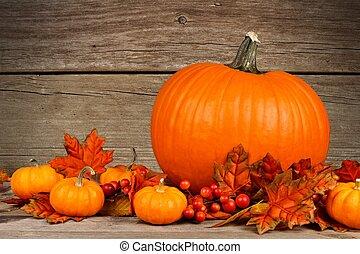 Autumn pumpkin scene on rustic wood - Pumpkin with bottom...