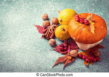 Autumn pumpkin Thanksgiving composition on a Blue background