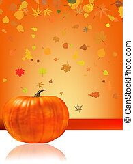 Autumn Pumpkins and leaves.