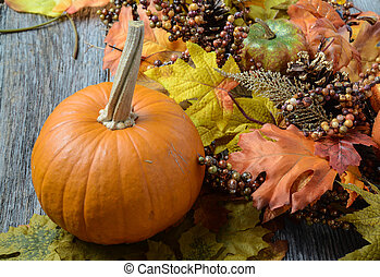 Autumn Pumpkins surrounded by leaves