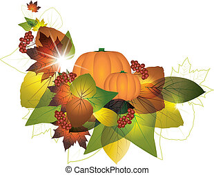 autumn - Pumpkins with fall leaves on white background