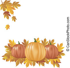 autumn- pumpkins with leaves