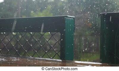 Autumn rain city place