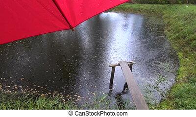 autumn rain drops on red umbrella