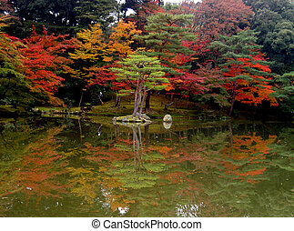 A beautiful autumn view in the Golden temple garden in Kyoto
