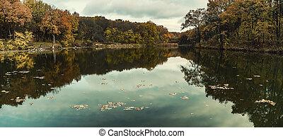 Autumn reflection in lake
