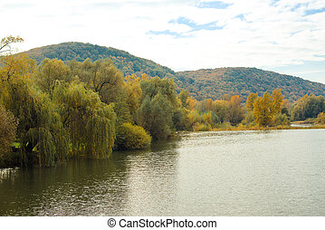 Autumn river and colorful trees near the water.
