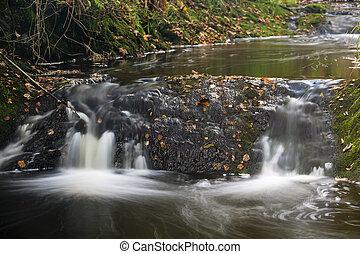 Autumn River Long Exposure, Belgium - Little waterfalls in a...