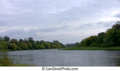 Autumn river, time Lapse