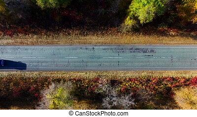 Autumn Road. Aerial Survey