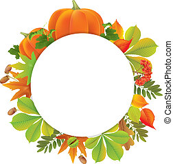 Autumn round banner with pumpkins. Contains transparent...