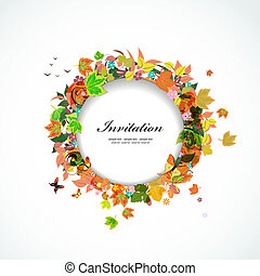 Autumn round frame for your design