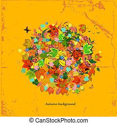 Autumn round ornament for your design