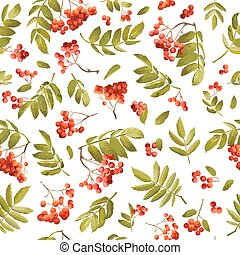 Autumn Rowan Berry Seamless Background. Floral Fall Pattern...