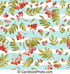 Autumn Rowanberry Seamless Background. Floral Fall Pattern...