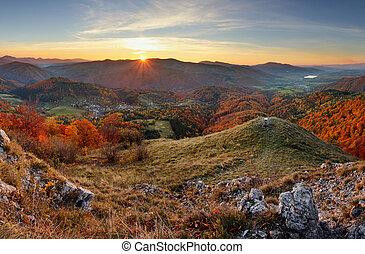 Autumn rural forestl landscape at sunset