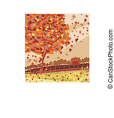 Autumn rural landscape illustration