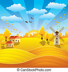 Autumn rural landscape with houses, mill, fields and hills