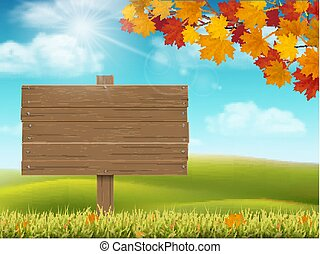 Autumn rural landscape with sign