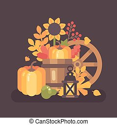 Autumn rural still life scene. Fall harvest background flat illustration