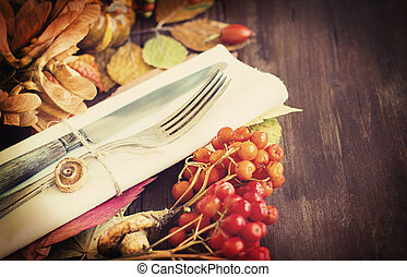 Autumn rustic table setting retro styling