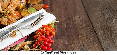 Autumn rustic table setting