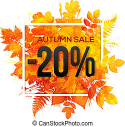 Autumn sale 20 percent discount vector banner with orange...
