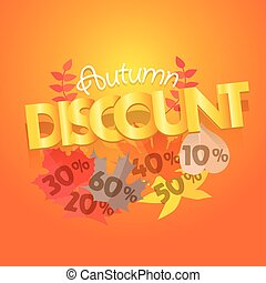 Autumn sale advirtising banner. Shopping special offer template. Autumn discount