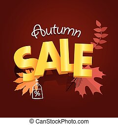 Autumn sale advirtising banner. Shopping special offer template. Autumn sale