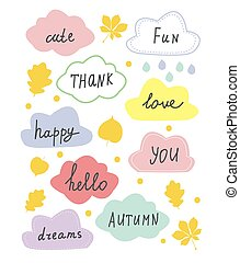 Autumn sale and discounts banners set for the card of shop....