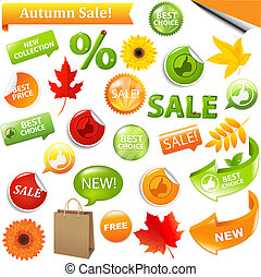 Autumn Sale - Autumn Discount Tickets, Isolated On White...