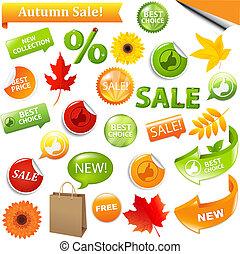 Autumn Sale - Autumn Discount Tickets, Isolated On White...