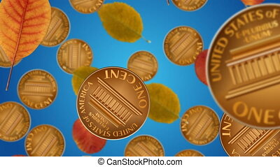 Autumn sale - Autumn leaves and coins falling down. Seasonal...