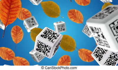 Autumn sale - Autumn leaves and cubes with QR codes falling...