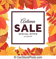 Autumn sale background template with bright leaves