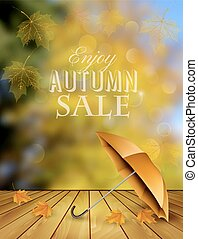 Autumn sale background with an umbrella. Vector.
