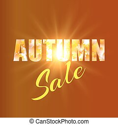 Autumn sale background with yellow maple leaves