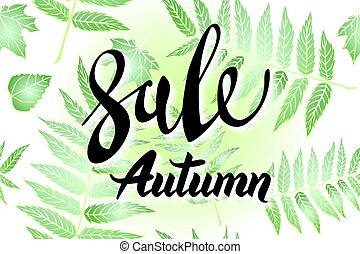 Autumn Sale banner design, with hand drawn lettering, in a frame made up by painted skeleton leaves, on dark green background texture with a place for text Vector illustration, eps 10