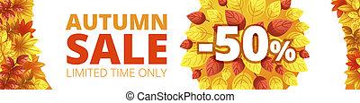 Autumn sale banner horizontal, cartoon style