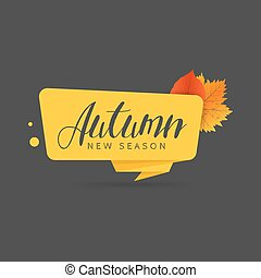 Autumn sale banner. Origami style paper design.