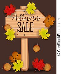 Autumn sale banner, paper colorful tree leaf maple, rowan leaves on wood texture background. Autumnal design for fall season banner, poster, web site, paper cut out art style, vector illustration