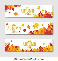 Autumn Sale Banner Set. Vector illustration. With text