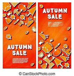 Autumn sale banner set with pumpkin, leaves and clouds.