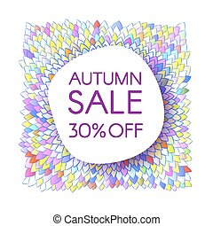 Autumn sale banner with a bunch of bright saturated leaves