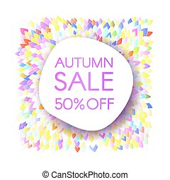 Autumn sale banner with a bunch of brightly colored leaves