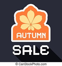 Autumn Sale Banner with Chestnut Leaf Symbol. Vector Flat...
