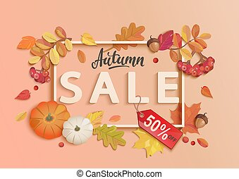 Autumn sale banner with frame and fall elements.