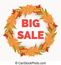 Autumn sale banner with leaves wreath